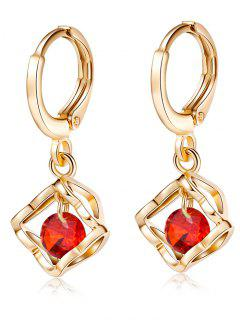 Artificial Gemstone Hollow Out Drop Earrings - Red