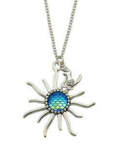 Mermaid Sunflower Fish Scales Necklace - Blue