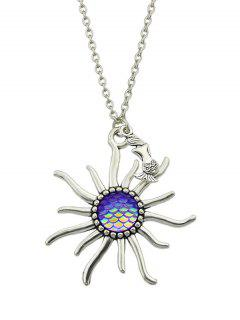 Mermaid Sunflower Fish Scales Necklace - Purple