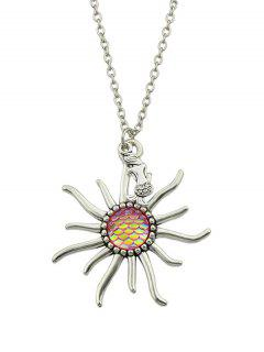 Mermaid Sunflower Fish Scales Necklace - Pink