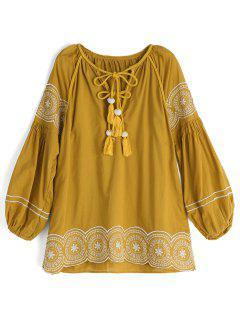 Blusa Bordada De Las Borlas Trenzadas - Amarillo S