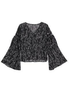 Printed Lace Panel See Thru Blouse - Black S