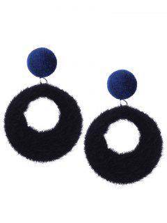 Fuzzy Circle Earrings - Black