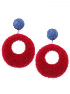Fuzzy Circle Earrings - Red