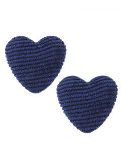 Unique Heart Earrings - Navy Blue