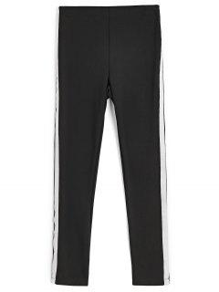 Skinny Ribbons Trims Pencil Pants - Black S
