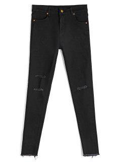 Skinny Ninth Destroyed Pencil Jeans - Black Xl