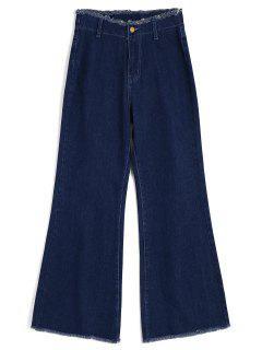 High Waisted Frayed Wide Leg Jeans - Denim Blau M