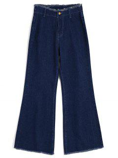 High Waisted Frayed Wide Leg Jeans - Denim Blue Xs