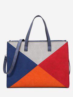 Triangle Geometric Color Block Handbag - Blue
