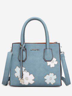 Letter Flower Lock Handbag - Blue
