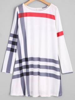 Striped Tunic Dress - White L