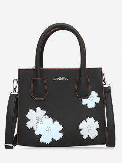 Letter Flower Lock Handbag - Black