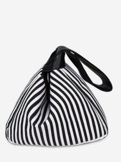 Splicing Striped Tote Bag - Black