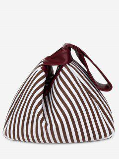 Splicing Striped Tote Bag - Brown