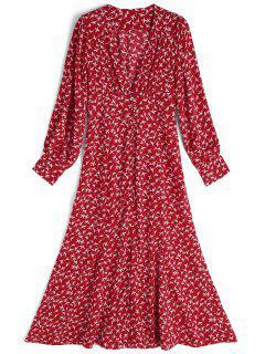 Robe Mi-longue à Manches Longues - Rouge Et Blanc M