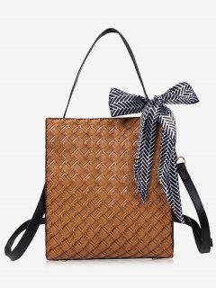 Bowknot Straw Handbag With Strap - Khaki