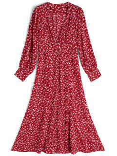 Long Sleeve Bird Front Slit Maxi Dress - Red And White S