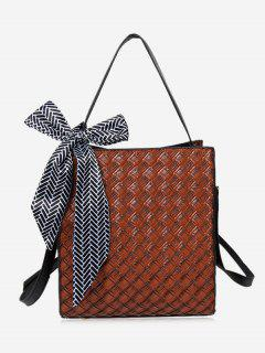 Bowknot Straw Handbag With Strap - Coffee