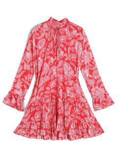Long Sleeve Floral Ruffles Tunic Mini Dress - Red And White L