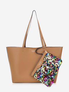 Letter Print Sequined Shoulder Bag Set - Brown