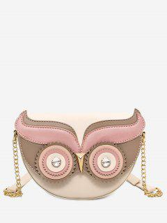Rhinestone Owl Chain Crossbody Bag - Light Khaki