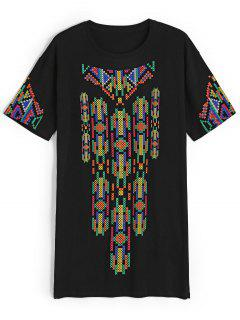 Casual Cross Jacquard Tee Dress - Black M
