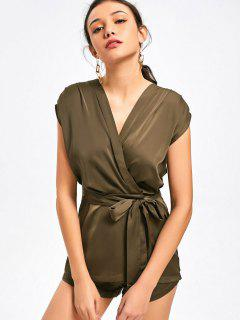 Snap Buttoned Belted Layered Romper - Army Green M