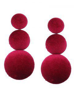 Graduated Round Velvet Earrings - Wine Red
