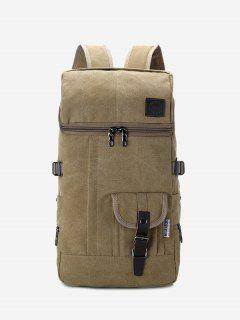 Zip Buckle Straps Backpack - Khaki