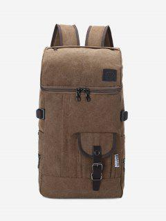 Zip Buckle Straps Backpack - Coffee