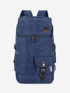 Zip Buckle Straps Backpack - Blue