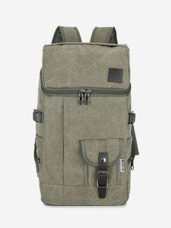 Zip Buckle Straps Backpack - Army Green