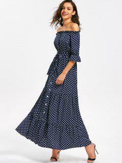 Off Shoulder Belted Polka Dot Maxi Dress - Dot Pattern M