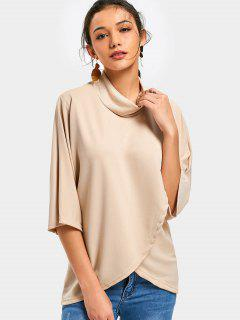 High Neck Plain Longline Bluse - Aprikose S