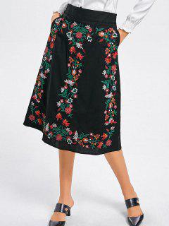 Floral Embroidered A Line Midi Skirt - Black M
