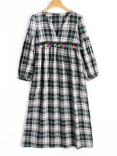 Kariertes Kleid Mit Quasten Und V Neck  - Plaid M