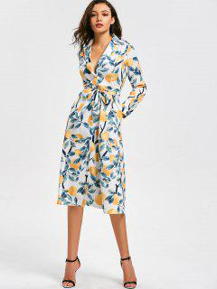Orange Print Long Sleeve Belted Dress - Multi S
