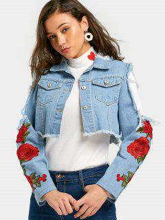 Flower Patched Cut Out Crop Denim Jacket - Light Blue S