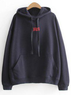 Oversized Cartoon Letter Hoodie - Black