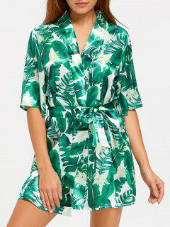 Tropical Leaves Print Wrap Sleep Robe - Green L