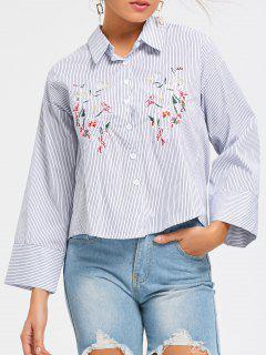 Chemise à Boutons à Rayures à Broder - Rayure M