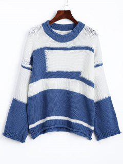 Drop Shoulder Two Tone Jumper Sweater - Blue And White