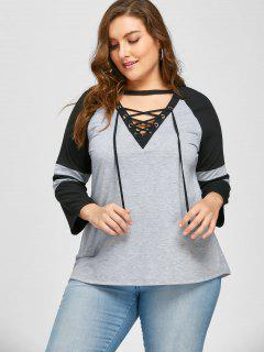 Plus Size Lace Up Raglan Sleeve T-shirt - Black And Grey 3xl