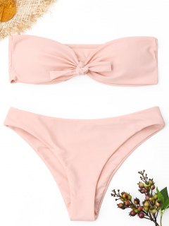 Knoten Bandeau Bikini Set - Pink S