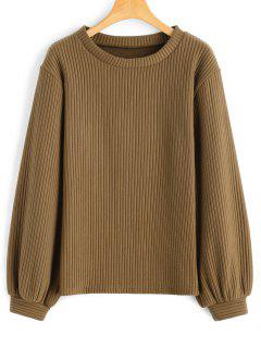 Lantern Sleeve Ribbed Sweatshirt - Dark Khaki M