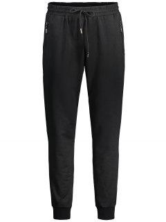 Drawstring Zipper Pocket Jogger Pants - Black Xl