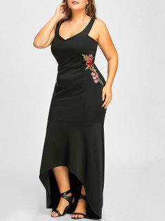 Hoch Niedrige Meerjungfrau Blumen Bestickt Plus Size Kleid - Schwarz 2xl