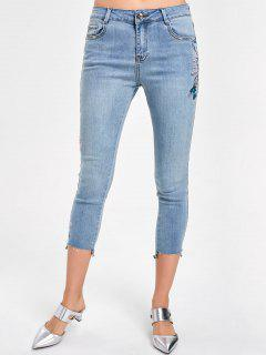 Embroidery Faded Capri Jeans - Denim Blue Xl