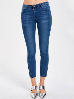 Lace Up Ninth Length Jeans - Denim Blue M
